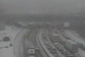 Traffic is crawling on I-95 as Tuesday's snowstorm intensifies.
