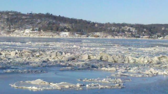 Ice just below the Tappan Zee Bridge in Dobbs Ferry