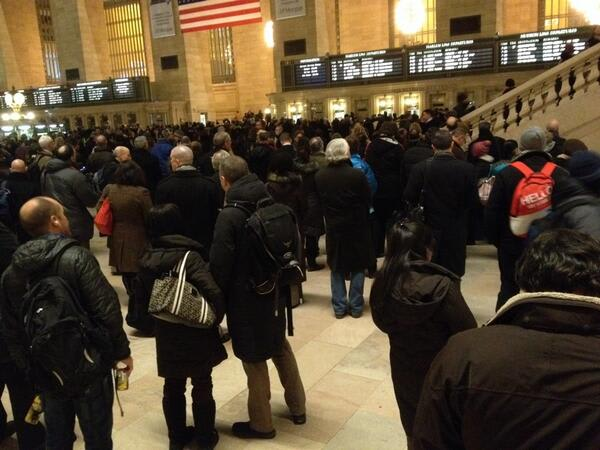 Passengers at Grand Central Station during the Thursday evening stoppage.