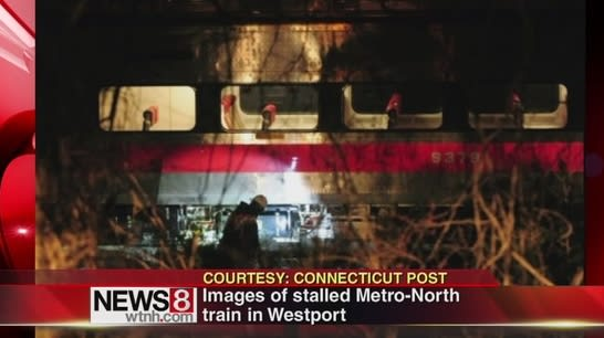 A Metro-North train was stranded Wednesday night for two hours near the Greens Farms station in Westport.
