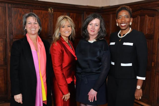 From left, Suni Harford, Judith Huntington, president of the College of New Rochelle, Peyton R. Patterson, and Carla Harris