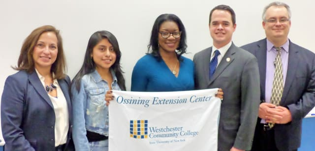 Sen. David Carlucci (second from right) is trying to make families more aware of financial aid resources.
