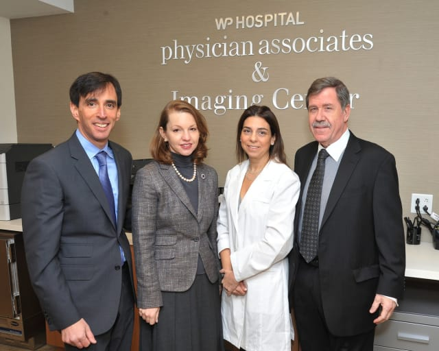 New Rochelle Mayor Noam Bramson visited the Imaging Center at New Rochelle Monday to tour the facility with, from left to right: White Plains Hospital President Susan Fox, Director of Outpatient Imaging Pamela Weber and C.E.O. Jon B. Schandler.