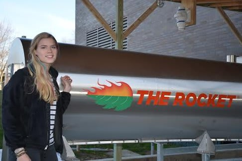 "Anna Palmer of Nyack, a junior at Purchase College, will serve as the first ""Compost Master"" at Purchase College when it unveils a new Rocket Composter on Wednesday, Feb. 5."
