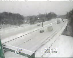 Traffic is light on I-84 in Danbury at Exit 6. The highway is closed at the New York border.