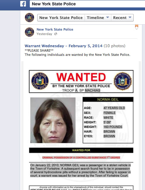 "New York State Police have introduced ""Warrant Wednesday"" in an effort to help track down some of the most wanted criminals."