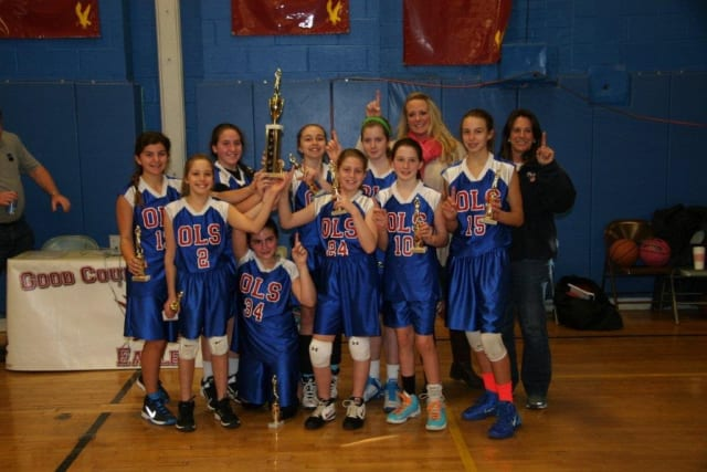 The Our Lady of Sorrows sixth- grade junior varsity girls basketball team completed a 14-0 season.