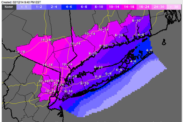 The purple coding on the National Weather Service map means 10 to 14 inches of snow could fall on Fairfield County.