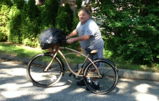 Dougie White is well-known resident in the Turn of River and High Ridge areas of Stamford. He is frequently seen on his bike.
