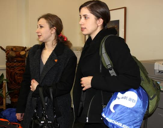 Maria Alyokhina, left, and Nadezhda Tolokonnikova visit Purchase College.