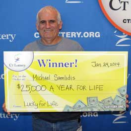 """Norwalk resident Michael Samlidis won second prize in the """"Lucky for Life"""" lottery game using his families birthdays as numbers."""