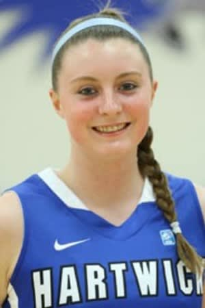Easton's Brittney Dumas, a sophomore at Hartwick College, was named to the Empire 8 All-Conference team. She played at Joel Barlow High School in Redding.