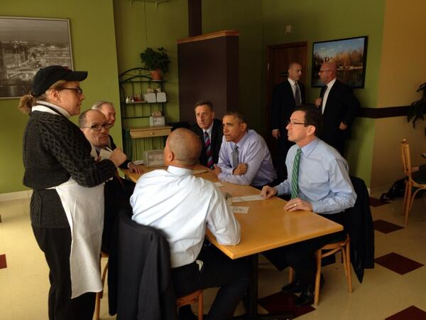 Gov. Dannel Malloy eats lunch Wednesday with President Barack Obama in Connecticut.