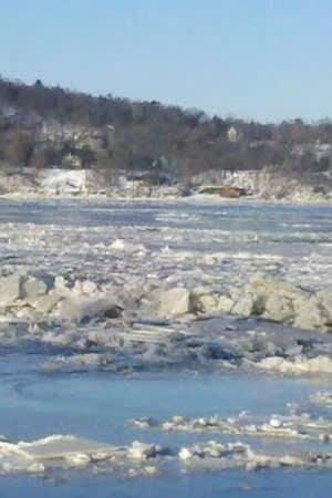 Icy conditions on the Hudson River near the Tappan Zee Bridge.