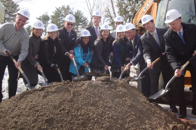 Local officials, trustees and students of the School of the Holy Child in Rye break ground on a new field house, theater and workshop.