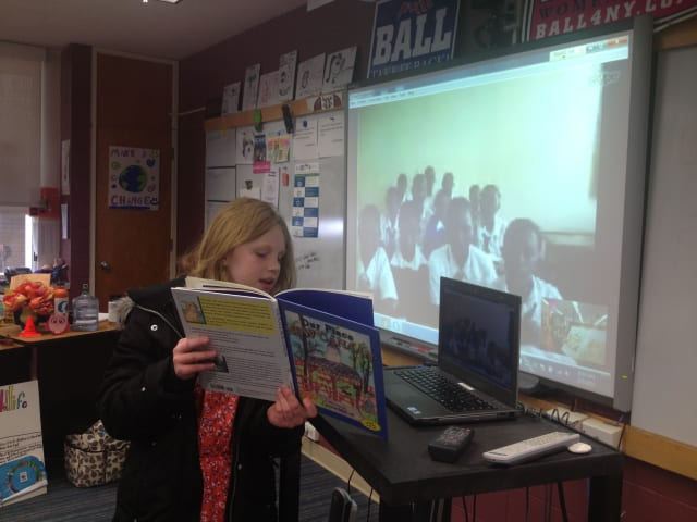 Fifth graders at New Canaan Country School celebrated World Read Aloud Day with friends in Tanzania.