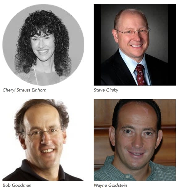 From top left, clockwise, emcee Cheryl Strauss Einhorn, and speakers Steve Girsky, Wayne Goldstein and Bob Goodman, who will be on the panel.