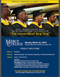 "The HBO film ""The University of Sing Sing"" will be screened at Mercy College on March 31."
