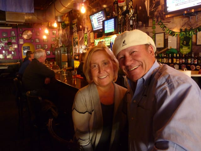 Paul Boudreau and his wife talk Major League Baseball spring training at O'Connors Pub in Mount Kisco.