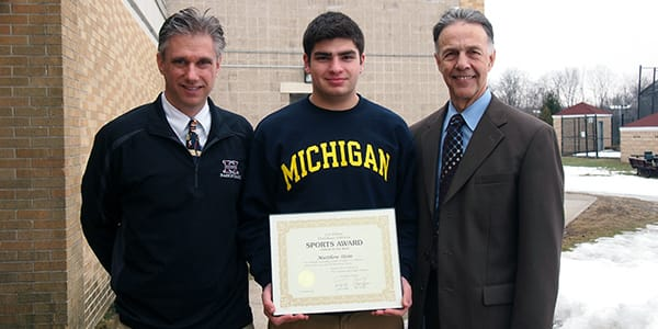 Harrison High School senior Matt Stein recently received an award from Con Edison.