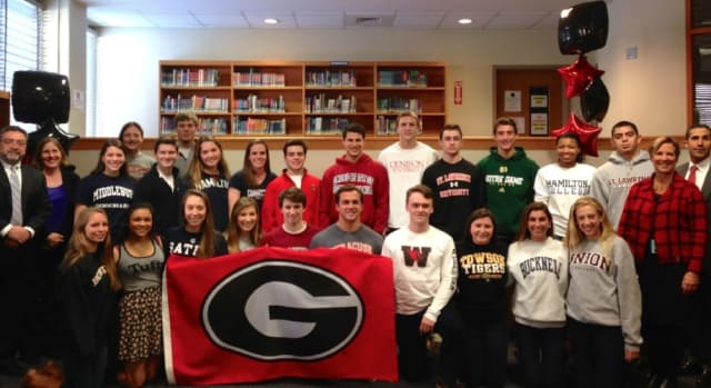 Twenty-five Rye student athletes who will be playing sports in college.