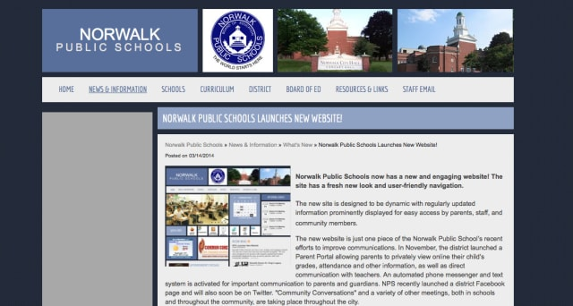 Norwalk Public Schools recently launched a new website.