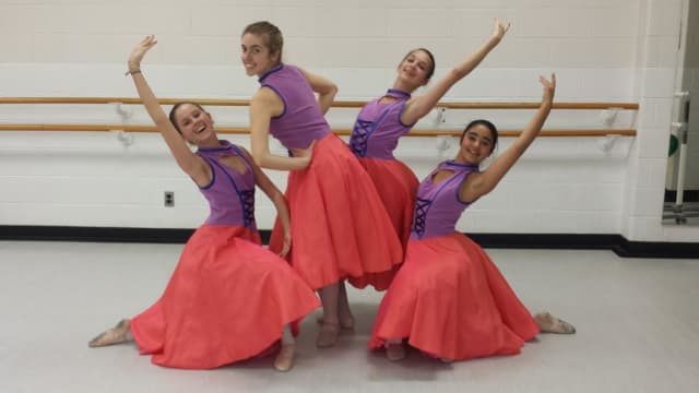 JCC's Westchester Theatre of Dance performance on March 29 and 30 features Can-can dancers. Pictured , from left are Chloe Suzman, Scarsdale; Emma Holtzman, New Rochelle; Julia Dietz, Hastings; and Caitlin Krantz, Scarsdale.
