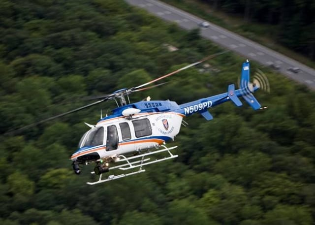 The Aviation Unit utilized a Bell 407 helicopter to make the rescue.