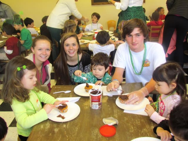 Bronville students helped children from Andrus Early Learning Center decorate cupcakes on St. Patrick's Day.