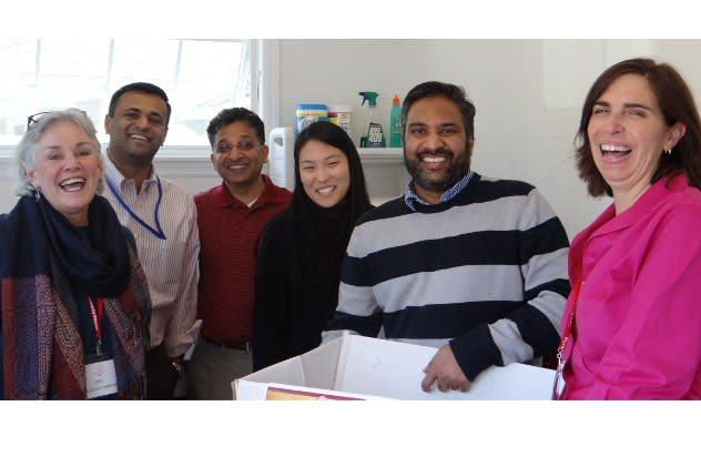 P2P Executive Director Ceci Maher (left) and In-Kind Manager Pat King (right) flank APAF team members Vaidheesh Krishnamurti, Sushand Koyambreth, Catherine Koh and Asmath Mohammed.