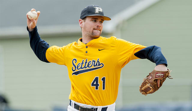 Pace University junior Tim Deegan tossed five scoreless innings in the win against the first Northeast-10 Conference game.
