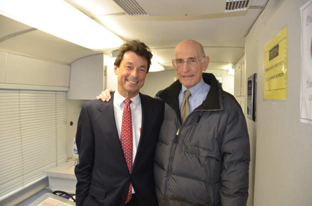 Dr. Robert Shapiro (left) and Dr. Alfred Wolfsohn (right) on board the AmeriCares mobile clinic. The two will be co-directors of the new AmeriCares Free Clinic of Stamford.