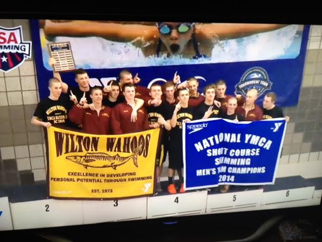 The Wilton Y Wahoos won the men's team title and finished fifth in the combined men's and women's division at the YMCA Short Course National Swimming Championships last week in North Carolina.
