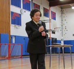 Holocaust survivor Judith Altmann spoke to students at Horace Greeley High School.