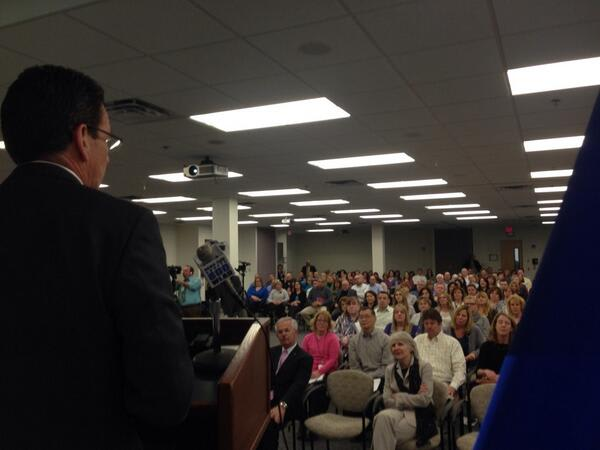 Gov. Dannel Malloy speaks to workers at Cartus, which is planning to expand its offices in Danbury.