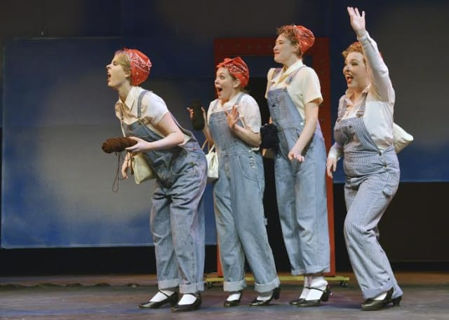 Students Lauren Bell, of Southbury; Jennifer Bavone, of Oakville; Kate Morris, of New Fairfield; and Kayla Murphy, of Brookfield, perform in 'Aesop's Falables.'