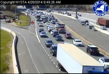 Heavy delays on the New York State Thruway leading to the Tappan Zee Bridge span at 9:49 a.m. Monday.