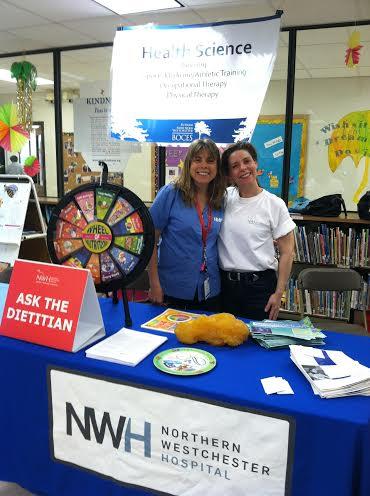 Northern Westchester Hospital's Elisa Bremner, RD, and Ellen Muetener, Director of Volunteers, at the Putnam/Northern Westchester BOCES Career Fair on Tuesday.