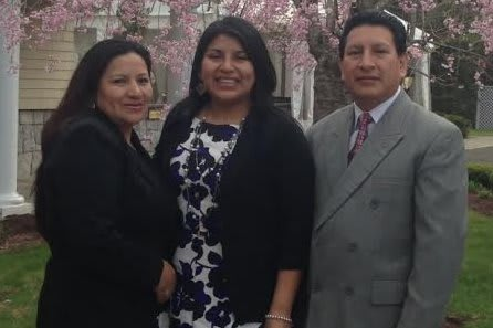 Danbury's Jessica Coraizaca, center, with her parents Ana (left) and Jaime, will graduate from Western Connecticut State University Sunday. She arrived from Ecuador at age 12 and went on to make the Dean's List  every semester at the Danbury college.