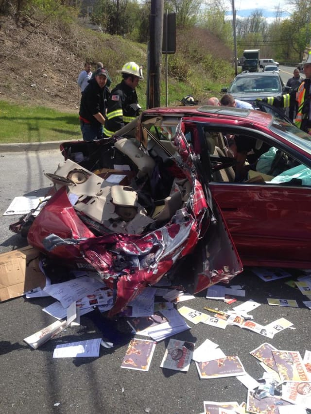 The scene at the accident on Route 9A Tuesday afternoon.