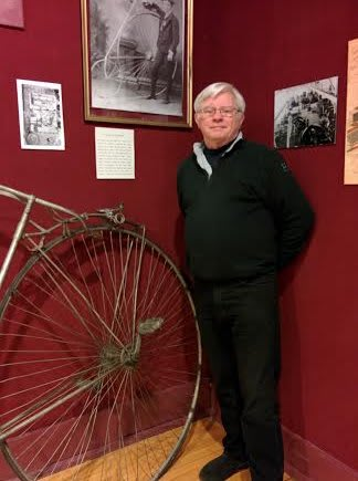 Dan Burke volunteers at the Stamford Historical Society.