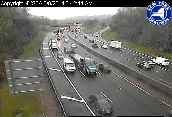 A view of traffic conditions at I-287 east of Hillside Avenue at approximately 8:40 a.m. Thursday.