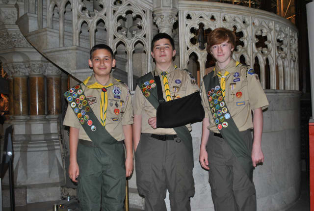From left, Vincent Ribeiro Life Scout; Eric Quarato, 1st Class Scout; and Christian Pitaccio, Life Scout.