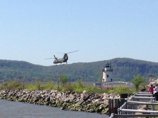 One of several helicopters in the Sleepy Hollow area Sunday, May 11 predicting Wednesday's planned visit by President Obama.