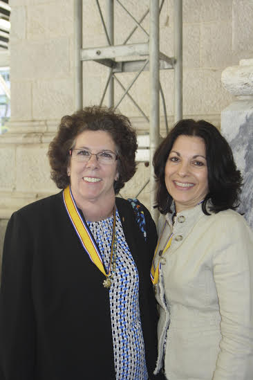 From left, Patricia Maloney and Linda Perrone pictured outside St. Patrick's Cathedral with their awards.