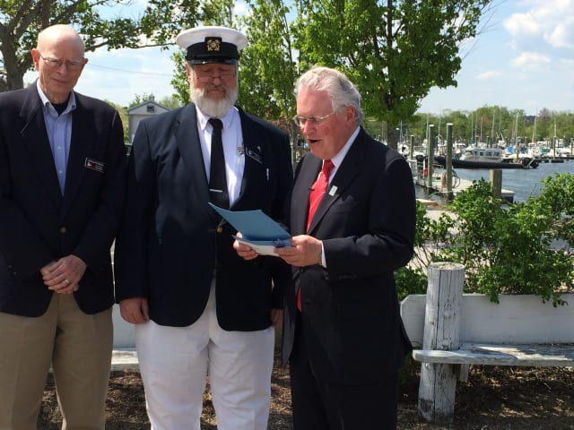 Fairfield First Selectman Michael Tetreau presented a proclamation to Commander John Pyrch and treasurer Donald Peterson thanking them for the Penfield Sail and Power Squadron's long history in promoting boat safety in the area.