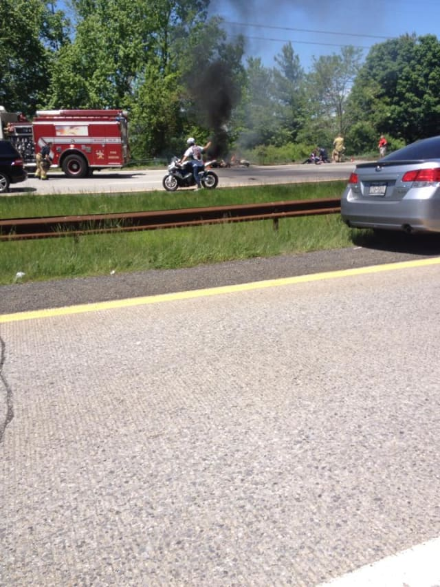 An accident on the southbound Sprain Parkway caused a fire and led to its closure for hours on Sunday.