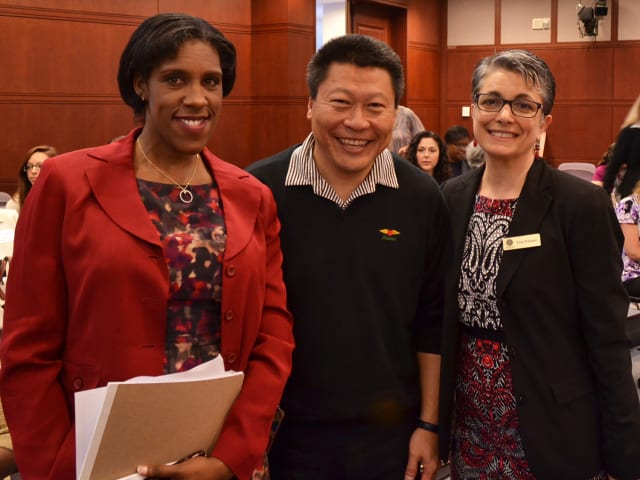 Teresa C. Younger, left, executive director of the Permanent Commission on the Status of Women, with State Rep. Tony Hwang and Fran Pastore, right. founder and president/CEO of the Women's Business Development Council.
