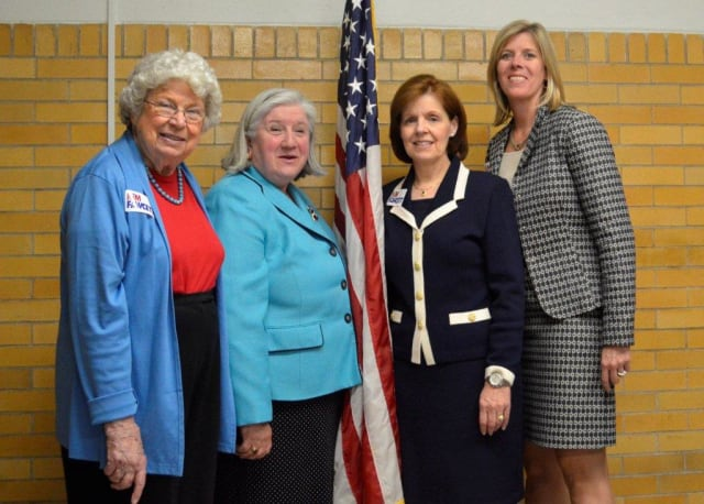 Kim Fawcett, right, celebrates her nomination with, from left, Martha Aasen, former chair of the Westport Democratic Town Committee; Susan Barrett, former Fairfield state representative; and Catherine Albin, of the Fairfield Board of Finance.