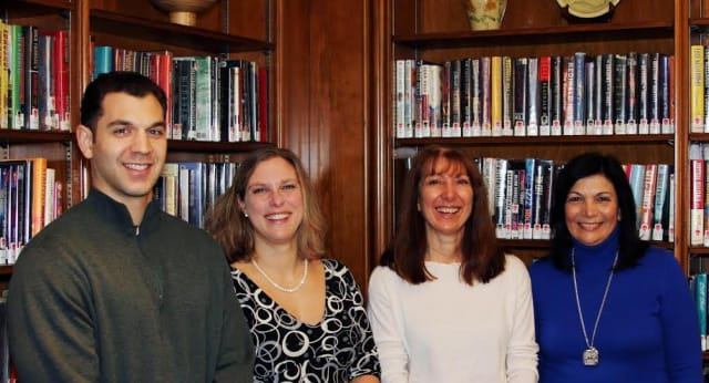 From left, Paul Viggiano, A.G. Williams Painting Co.; Elizabeth Bermel, Scarsdale Public Library; Mona Longman, Spelling Bee Committee and the Board of Trustees of the Friends of the Scarsdale Library; and Rosa Calabrese, Rachele Rose Day Spa.